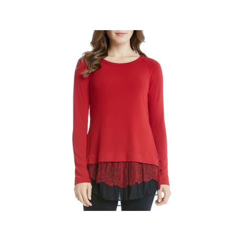Karen Kane Womens Crewneck Sweater Knit Long Sleeves
