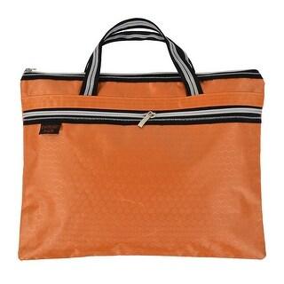 Document File Nylon Hexagon Pattern A4 Zipper Closure Bag Tote Briefcase Orange