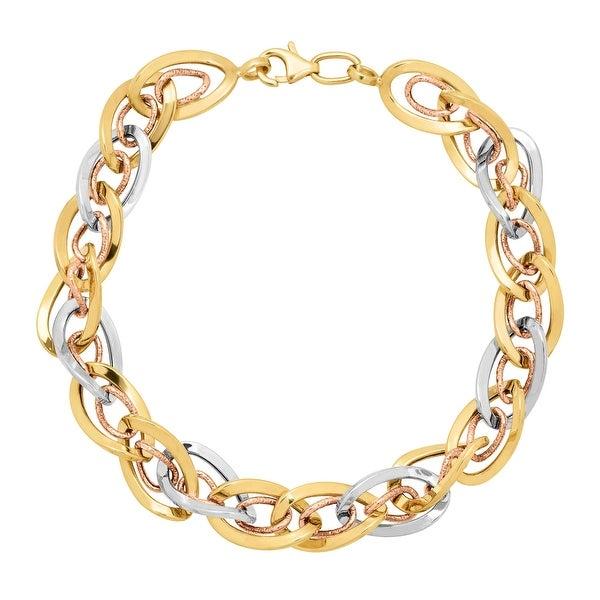 Just Gold Interlocking Oval Link Bracelet in Three-Tone 10K Gold