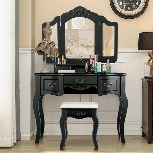 Shop Gymax Bedroom Makeup Vanity Dressing Table Set With ...