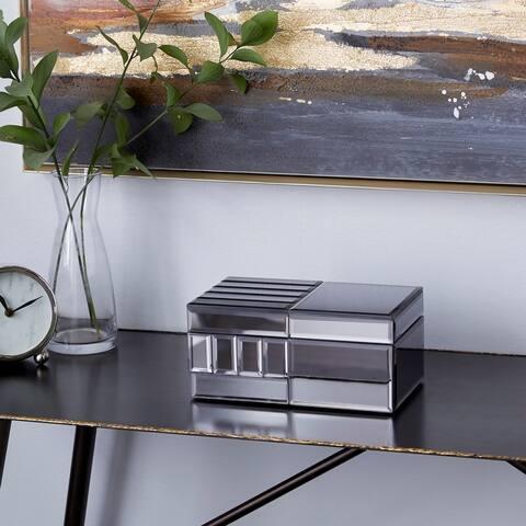 Silver Glass Glam Jewelry Box 4 x 9 x 6 - 9 x 6 x 4