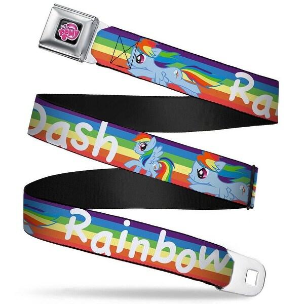 My Little Pony Logo Full Color Black Pink Rainbow Dash Poses W Rainbow Seatbelt Belt