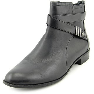 Anne Klein Kael Women Round Toe Leather Black Ankle Boot