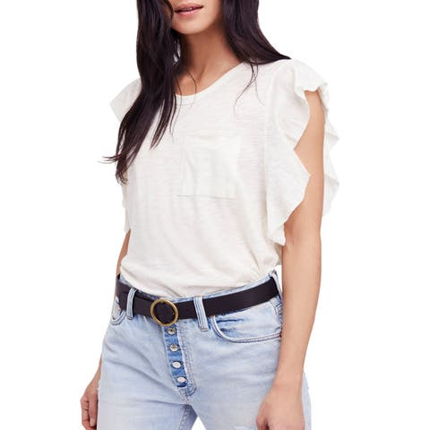 We The Free White Ivory Women's Large L Flutter Pocket Knit Top
