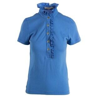 Tory Burch Womens Modal Blend Ruffled Neck Polo Top - XL