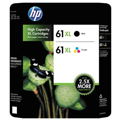 HP 61XL High Yield Original Ink Cartridge, Black/Tri-Color (CR258BN)