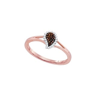 10kt Rose Gold Womens Round Red Colored Diamond Teardrop Cluster Fashion Ring 1/10 Cttw - White