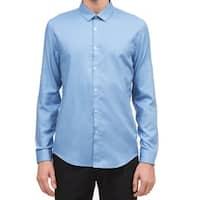 Calvin Klein Blue Twill Mens Size Small S Button Down Cotton