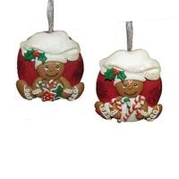 """Club Pack of 24 Red and White Gingerbread Boy and Girl with Macaroon Ornaments 3"""""""