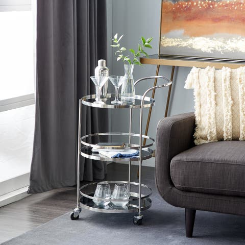 Silver Stainless Steel Contemporary Bar Cart 33 x 17 x 21 - 17 x 21 x 33