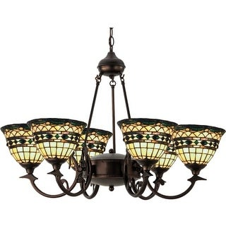 "Meyda Tiffany 27402 Tiffany Roman 6 Light 32"" Wide Chandelier with Tiffany Glass Shade"