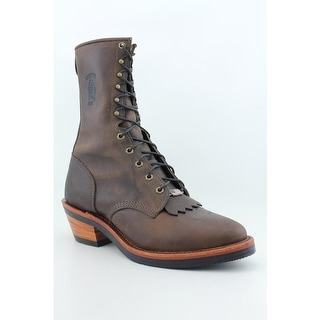 Chippewa Bay Crazy Horse Packer Men B Round Toe Leather Brown Work Boot