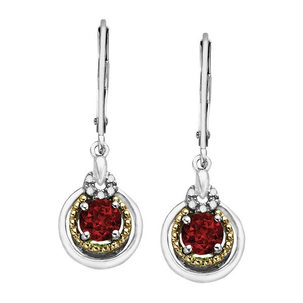 1 1/3 ct Created Ruby Drop Earrings with Diamonds in Sterling Silver and 14K Gold - Red