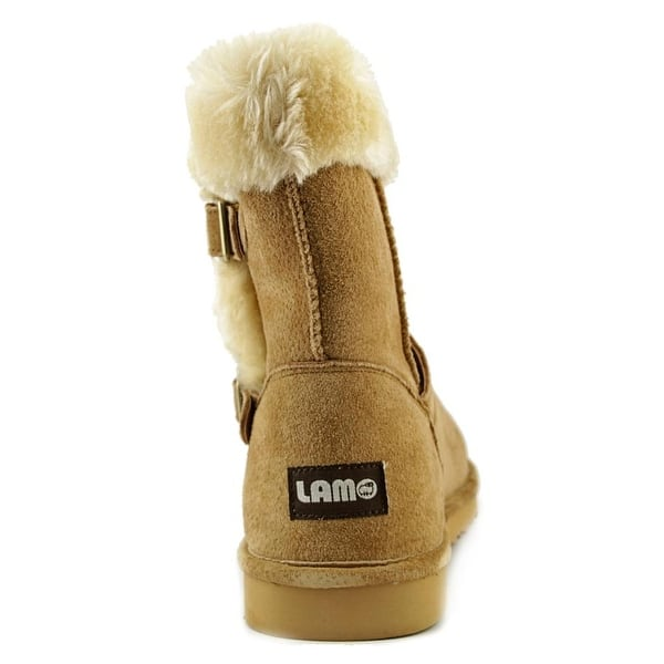 Lamo Cresson Suede Leather Buckle Detail Womens Ankle Boots w//Faux Fur Trim