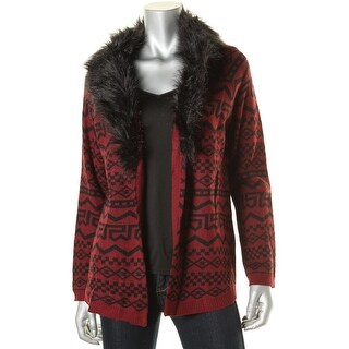 Rebellious One Womens Juniors Knit Printed Cardigan Sweater