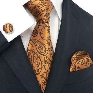 Men's Bronze Paisley 100% Neck Tie Set With Hanky 1896C