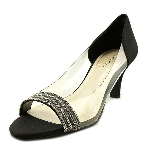 Caparros Fancy Women Open-Toe Canvas Black Heels