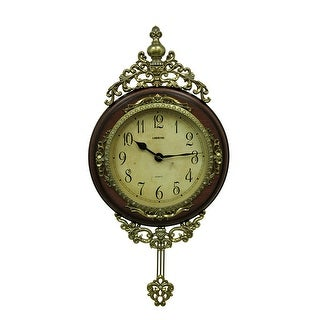 Elegant Scroll Gold & Wood Finish Classic Style Pendulum Wall Clock