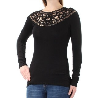 JESSICA SIMPSON $60 Womens New 1311 Black Lace Long Sleeve Crew Neck Top M B+B