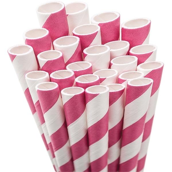 "Paper Drinking Straws 7.75"" 50/Pkg-Pink & White Striped - Pink"