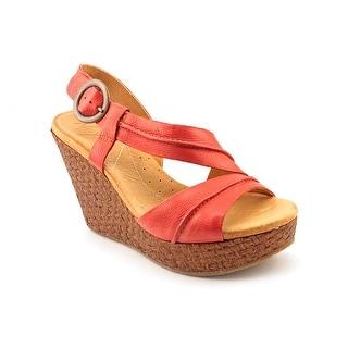Naya Estra Women Open Toe Leather Red Wedge Sandal