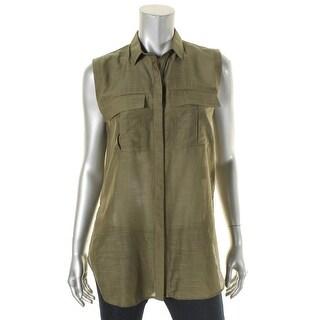 Helmut Lang Womens Button-Down Top Collar Short Sleeves - s
