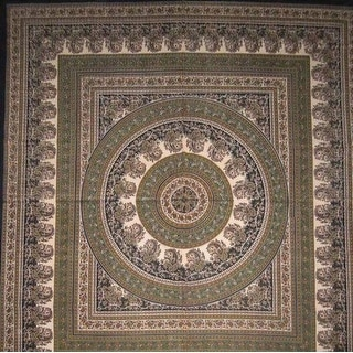Handmade Cotton Paisley Mandala Tapestry Tablecloth Coverlet Spread 64x90 Twin Full