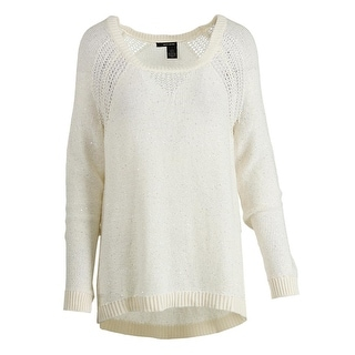 DKNY Jeans Womens Sequined Crew Neck Pullover Sweater - M
