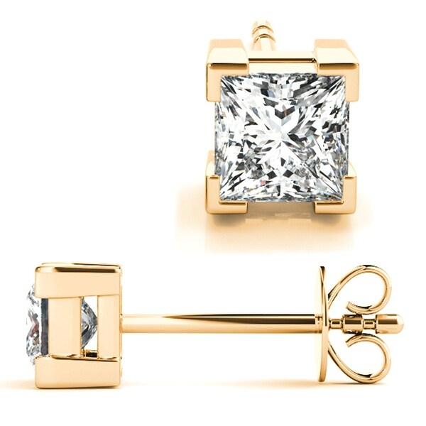 1.50CT Princess Cut Solitaire Brilliant Cut Earrings 14k Yellow Gold