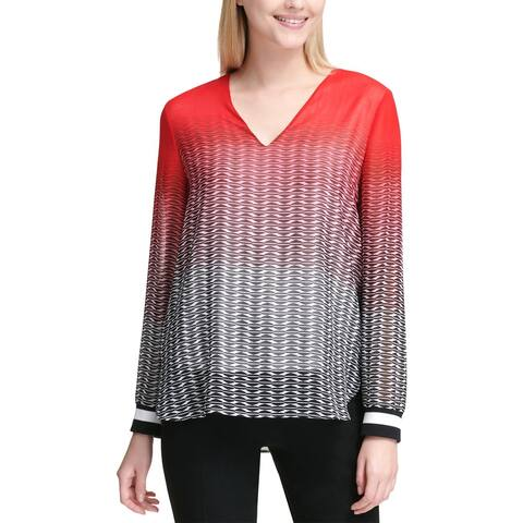 Calvin Klein Womens Pullover Top Printed Ombre