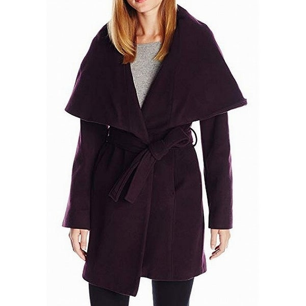 T. Tahari Marylin Purple Oversize Women Small S Marla Wool Coat