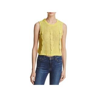 Banjara Womens Tank Top Sweater Cable Knit Slit Back