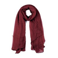 Long Warm Shawl Large Soft Solid Color Scarf for Women Men Burgundy-1