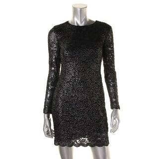 Lauren Ralph Lauren Womens Petites Metallic Sheer Sleeve Party Dress - 8P