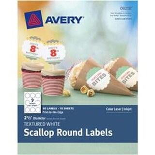 """White - Textured Scallop Round Labels 2-1/2"""" 90/Pkg"""