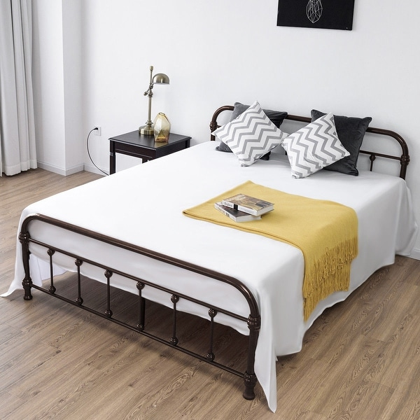 shop costway queen size metal steel bed frame w stable metal slats headboard footboard. Black Bedroom Furniture Sets. Home Design Ideas