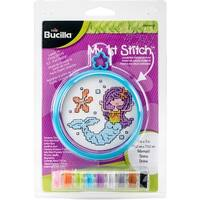 "My 1St Stitch Mermaid Mini Counted Cross Stitch Kit-3"" Round 14 Count"
