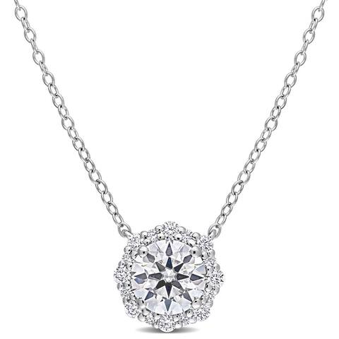 Miadora 1 1/2ct DEW Moissanite Halo Floral Necklace in Sterling Silver