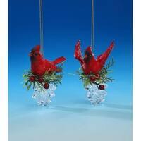 """Set of 4 Red and Green Cardinal Pine Cone Ornaments 3.25"""""""