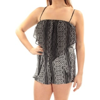 BCBGENERATION Womens New 1508 Black Printed Straight leg Romper M B+B