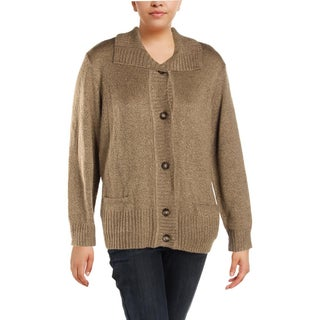 Karen Scott Womens Plus Cardigan Sweater Marled Warm