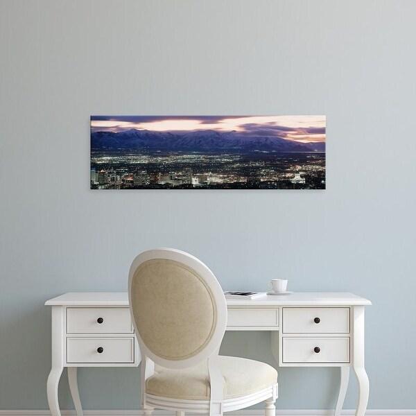 Easy Art Prints Panoramic Images's 'Salt Lake City,Utah skyline at night' Premium Canvas Art