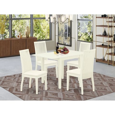 Dinette Table and Dining Chairs with Linen Fabric Upholstery Seat - Linen White Finish (Number of Chairs Option)