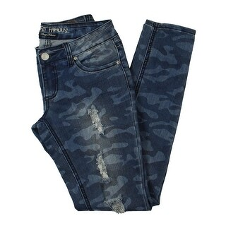 Almost Famous Womens Juniors Skinny Jeans Camo Distressed - 5