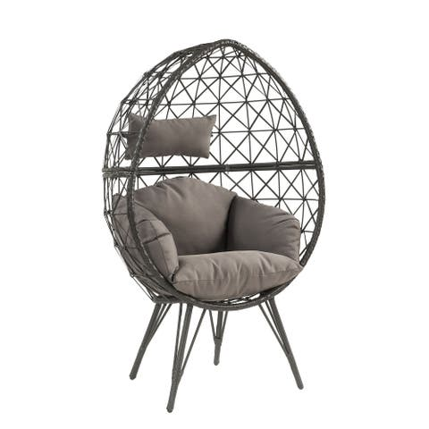 ACME Aeven Teardrop Patio Chair in Gray Fabric and Black Wicker