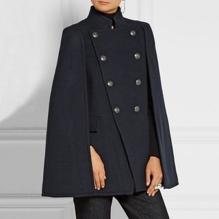 Link to Women Wool Cape Coat Double Breasted  Coat - Navy Similar Items in Women's Outerwear