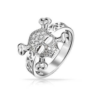 Bling Jewelry Skull Crossbones Ring 925 Sterling Silver Filigree Band