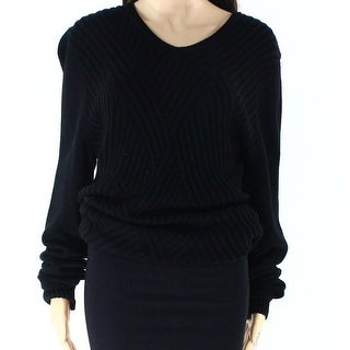 Guess NEW Black Womens Large L V-Neck Ribbed Knit Long-Sleeve Sweater