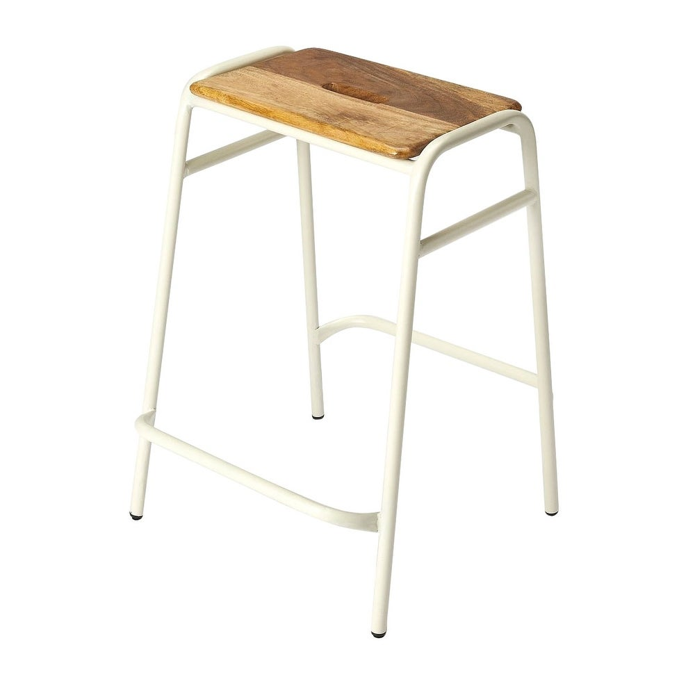 Fabulous Offex Transitional Iron And Wood Rectangular Counter Stool White N A Ncnpc Chair Design For Home Ncnpcorg