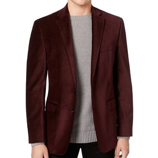 Calvin Klein NEW Red Burgundy Mens Size 40 Two Button Velvet Blazer